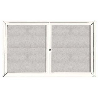 "Aarco ODCC3660RIW 2 Door Outdoor Illuminated Enclosed Bulletin Board with White Powder Coated Aluminum Frame 36"" x 60"""