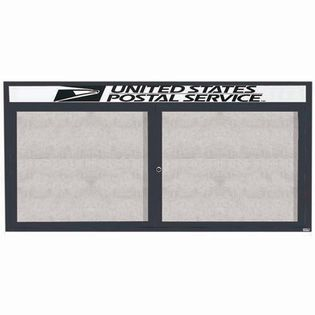 "Aarco ODCC3672RHIBA 2 Door Outdoor Illuminated Enclosed Bulletin Board with Bronze Anodized Aluminum Frame and Header 36"" x 72"""