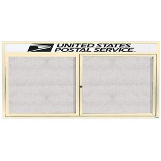 """Aarco ODCC3672RHIV 2 Door Outdoor Enclosed Bulletin Board with Ivory Powder Coated Aluminum Frame and Header 36"""" x 72"""""""