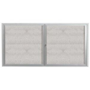 "Aarco ODCC3672RI 2 Door Outdoor Illuminated Enclosed Bulletin Board with Aluminum Frame 36"" x 72"""