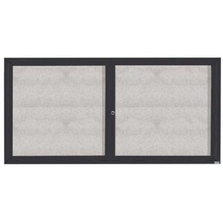 "Aarco ODCC3672RIBA 2 Door Outdoor Illuminated Enclosed Bulletin Board with Bronze Anodized Aluminum Frame 36"" x 72"""