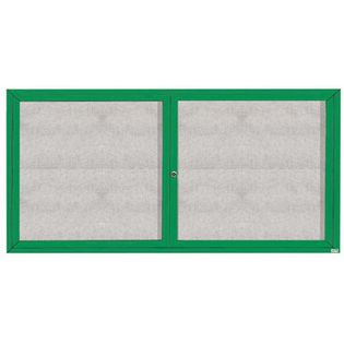 """Aarco ODCC3672RIG 2 Door Outdoor Illuminated Enclosed Bulletin Board with Green Powder Coated Aluminum Frame 36"""" x 72"""""""
