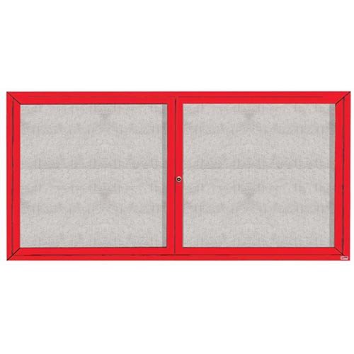 "Aarco ODCC3672RIR 2 Door Outdoor Illuminated Enclosed Bulletin Board with Red Powder Coated Aluminum Frame 36"" x 72"""