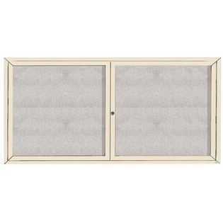 "Aarco ODCC3672RIV 2 Door Outdoor Enclosed Bulletin Board with Ivory Powder Coated Aluminum Frame 36"" x 72"""