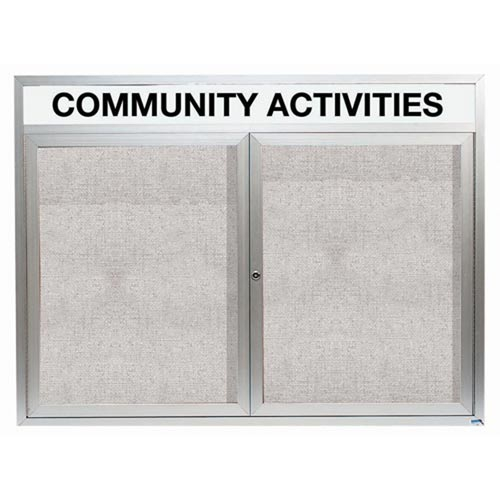 "Aarco ODCC4860RHI 2 Door Outdoor Illuminated Enclosed Bulletin Board with Aluminum Frame and Header 48"" x 60"""