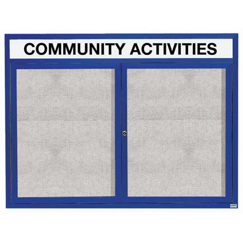 "Aarco ODCC4860RHIB 2 Door Outdoor Illuminated Enclosed Bulletin Board with Blue Powder Coated Aluminum Frame and Header 48"" x 60"""