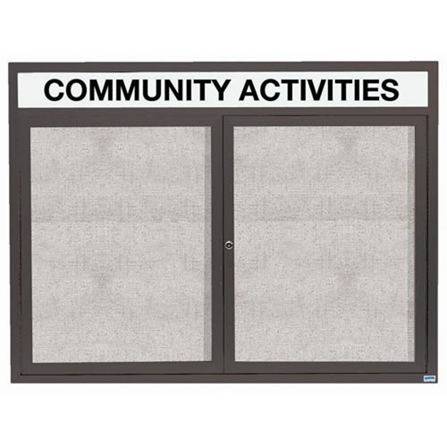 "Aarco ODCC4860RHIBA 2 Door Outdoor Illuminated Enclosed Bulletin Board with Bronze Anodized Aluminum Frame and Header 48"" x 60"""