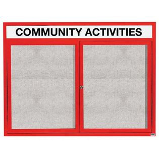 """Aarco ODCC4860RHIR 2 Door Outdoor Illuminated Enclosed Bulletin Board with Red Powder Coated Aluminum Frame and Header 48"""" x 60"""""""