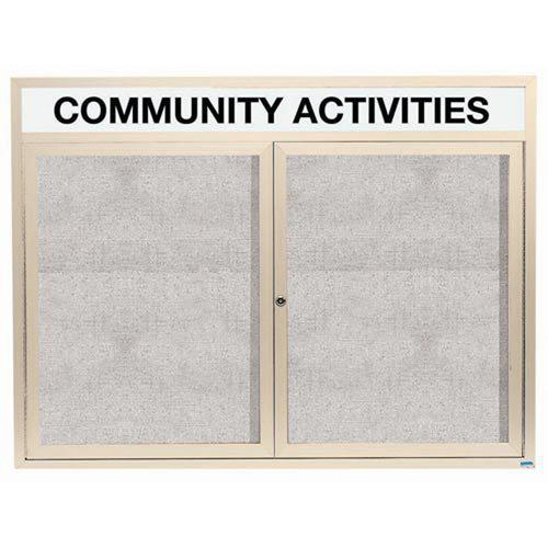 """Aarco ODCC4860RHIV 2 Door Outdoor Enclosed Bulletin Board with Ivory Powder Coated Aluminum Frame and Header 48"""" x 60"""""""