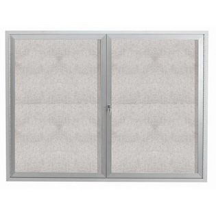 "Aarco ODCC4860RI 2 Door Outdoor Illuminated Enclosed Bulletin Board with Aluminum Frame 48"" x 60"""