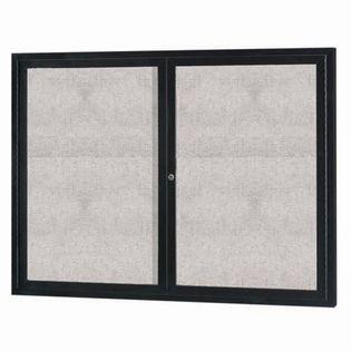"Aarco ODCC4860RIBK 2 Door Outdoor Illuminated Enclosed Bulletin Board with Black Powder Coated Aluminum Frame 48"" x 60"""
