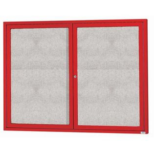 "Aarco ODCC4860RIR 2 Door Outdoor Illuminated Enclosed Bulletin Board with Red Powder Coated Aluminum Frame 48"" x 60"""