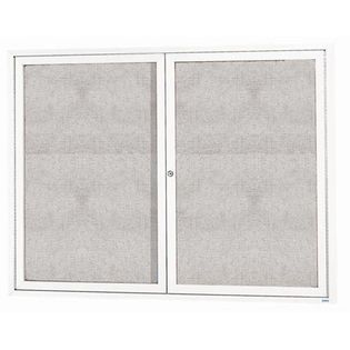 "Aarco ODCC4860RIW 2 Door Outdoor Illuminated Enclosed Bulletin Board with White Powder Coated Aluminum Frame 48"" x 60"""