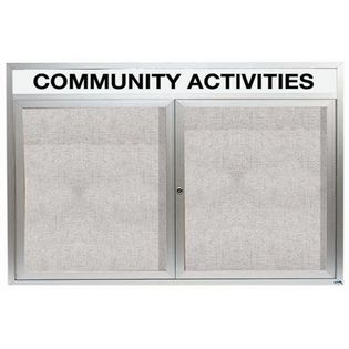 "Aarco ODCC4872RHI 2 Door Outdoor Illuminated Enclosed Bulletin Board with Aluminum Frame and Header 48"" x 72"""