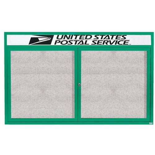 "Aarco ODCC4872RHIG 2 Door Outdoor Illuminated Enclosed Bulletin Board with Green Powder Coated Aluminum Frame and Header 48"" x 72"""