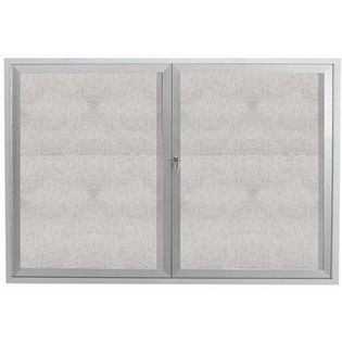 "Aarco ODCC4872RI 2 Door Outdoor Illuminated Enclosed Bulletin Board with Aluminum Frame 48"" x 72"""