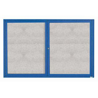 "Aarco ODCC4872RIB 2 Door Outdoor Illuminated Enclosed Bulletin Board with Blue Powder Coated Aluminum Frame 48"" x 72"""
