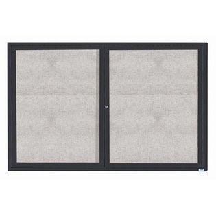 """Aarco ODCC4872RIBA 2 Door Outdoor Illuminated Enclosed Bulletin Board with Bronze Anodized Aluminum Frame 48"""" x 72"""""""