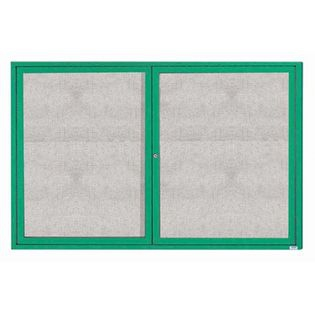 """Aarco ODCC4872RIG 2 Door Outdoor Illuminated Enclosed Bulletin Board with Green Powder Coated Aluminum Frame 48"""" x 72"""""""