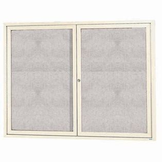 """Aarco ODCC4872RIIV 2 Door Outdoor Illuminated Enclosed Bulletin Board with Ivory Powder Coated Aluminum Frame 48"""" x 72"""""""