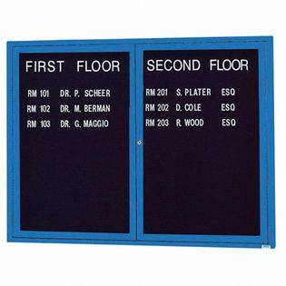 "Aarco OADC3648B 2 Door Outdoor Enclosed Directory Board with Blue Anodized Aluminum Frame 36"" x 48"""