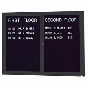 """Aarco OADC3648BK 2 Door Outdoor Enclosed Directory Board with Black Anodized Aluminum Frame 36"""" x 48"""""""