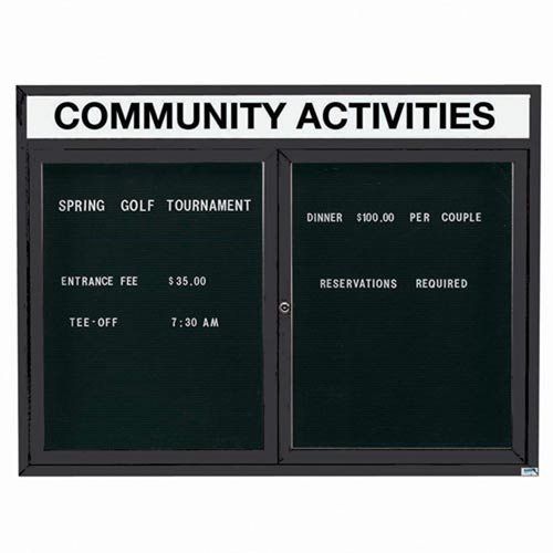 "Aarco OADC3648HBK 2 Door Outdoor Enclosed Directory Board with Black Anodized Aluminum Frame and Header 36"" x 48"""
