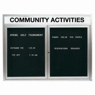 "Aarco OADC3648HI 2 Door Outdoor Illuminated Enclosed Directory Board with Aluminum Frame and Header 36"" x 48"""