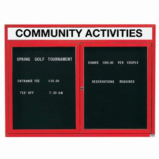 "Aarco OADC3648HR 2 Door Outdoor Enclosed Directory Board with Red Anodized Aluminum Frame and Header 36"" x 48"""
