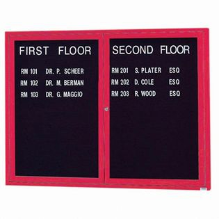 "Aarco OADC3648R 2 Door Outdoor Enclosed Directory Board with Red Anodized Aluminum Frame 36"" x 48"""