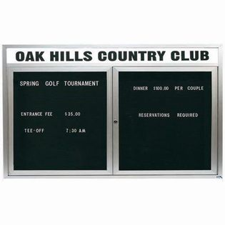 "Aarco OADC3660H 2 Door Outdoor Enclosed Directory Board with Aluminum Frame and Header 36"" x 60"""