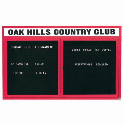 "Aarco OADC3660HR 2 Door Outdoor Enclosed Directory Board with Red Anodized Aluminum Frame and Header 36"" x 60"""