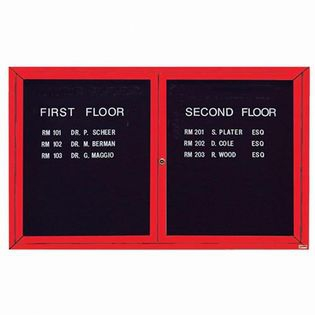 "Aarco OADC3660R 2 Door Outdoor Enclosed Directory Board with Red Anodized Aluminum Frame 36"" x 60"""