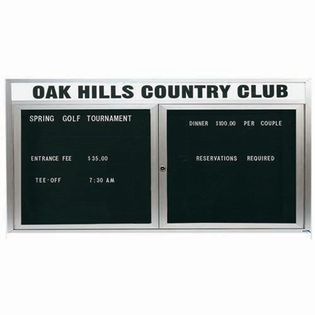 """Aarco OADC3672H 2 Door Outdoor Enclosed Directory Board with Aluminum Frame and Header 36"""" x 72"""""""