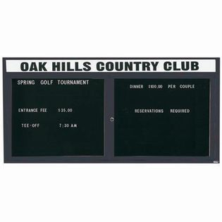 "Aarco OADC3672HBA 2 Door Outdoor Enclosed Directory Board with Bronze Anodized Aluminum Frame and Header 36"" x 72"""