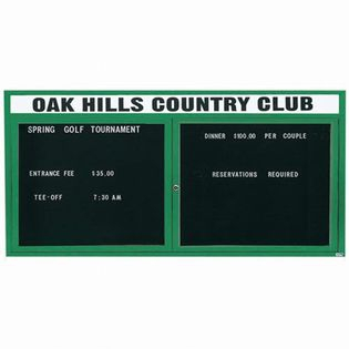 "Aarco OADC3672HG 2 Door Outdoor Enclosed Directory Board with Green Anodized Aluminum Frame and Header 36"" x 72"""