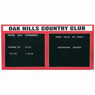 "Aarco OADC3672HR 2 Door Outdoor Enclosed Directory Board with Red Anodized Aluminum Frame and Header 36"" x 72"""