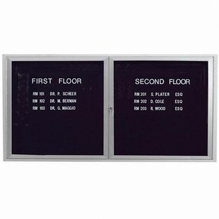 "Aarco OADC3672I 2 Door Outdoor Illuminated Enclosed Directory Board with Aluminum Frame 36"" x 72"""