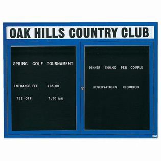 "Aarco OADC4860HB 2 Door Outdoor Enclosed Directory Board with Blue Anodized Aluminum Frame and Header 48"" x 60"""