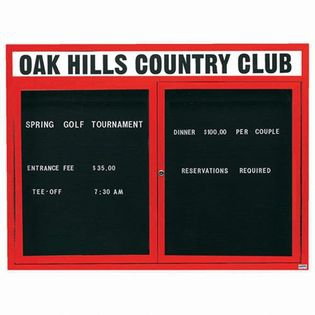 """Aarco OADC4860HR 2 Door Outdoor Enclosed Directory Board with Red Anodized Aluminum Frame and Header 48"""" x 60"""""""