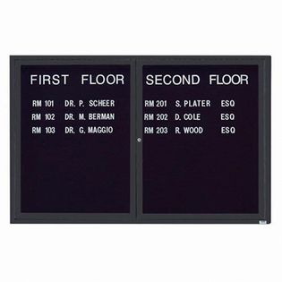 "Aarco OADC4872BA 2 Door Outdoor Enclosed Directory Board with Bronze Anodized Aluminum Frame 48"" x 72"""