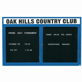 """Aarco OADC4872HB 2 Door Outdoor Enclosed Directory Board with Black Anodized Aluminum Frame and Header 48"""" x 72"""""""