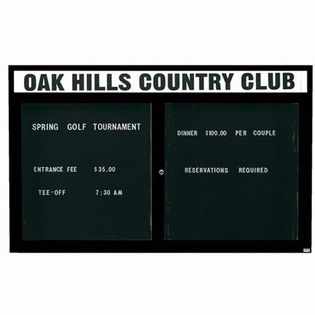 """Aarco OADC4872HBK 2 Door Outdoor Enclosed Directory Board with Black Anodized Aluminum Frame and Header 48"""" x 72"""""""