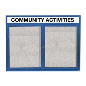 "Aarco ODCC3648RHB 2 Door Outdoor Enclosed Bulletin Board with Blue Powder Coated Aluminum Frame and Header 36"" x 48"""