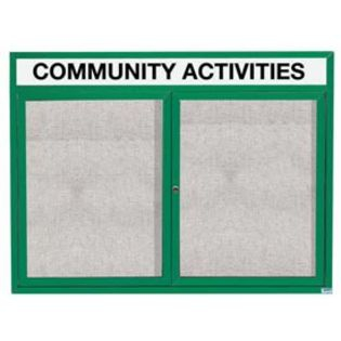"Aarco ODCC3648RHG 2 Door Outdoor Enclosed Bulletin Board with Green Powder Coated Aluminum Frame and Header 36"" x 48"""