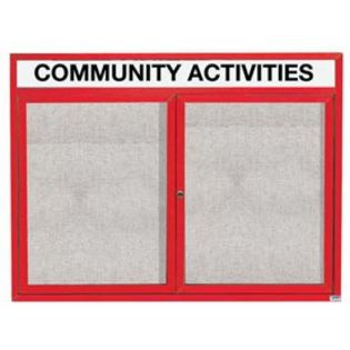 "Aarco ODCC3648RHR 2 Door Outdoor Enclosed Bulletin Board with Red Powder Coated Aluminum Frame and Header 36"" x 48"""