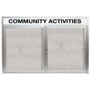 "Aarco ODCC3660RH 2 Door Outdoor Enclosed Bulletin Board with Aluminum Frame and Header 36"" x 60"""
