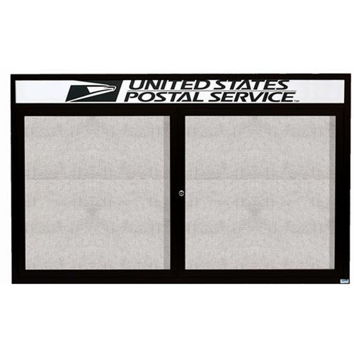"Aarco ODCC3660RHBK 2 Door Outdoor Enclosed Bulletin Board with Black Powder Coated Aluminum Frame and Header 36"" x 60"""
