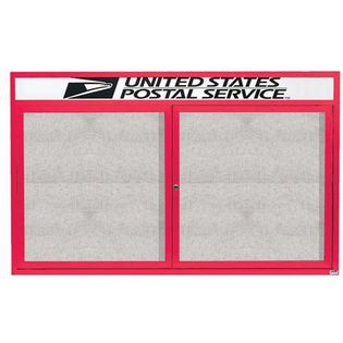 """Aarco ODCC3660RHR 2 Door Outdoor Enclosed Bulletin Board with Red Powder Coated Aluminum Frame and Header 36"""" x 60"""""""