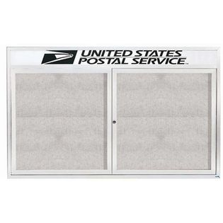 "Aarco ODCC3660RHW 2 Door Outdoor Enclosed Bulletin Board with White Powder Coated Aluminum Frame and Header 36"" x 60"""